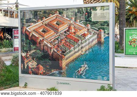 Split, Croatia - Aug 15, 2020: Illustration Of Diocletian Palace Original Look On Esplanade Marina B