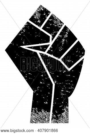 Fist Icon With Scratched Effect. Isolated Vector Fist Icon Image With Scratched Rubber Texture On A