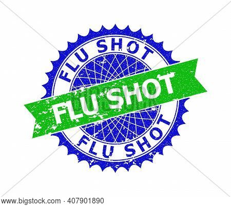 Vector Flu Shot Bicolor Stamp With Corroded Surface. Blue And Green Colors. Flat Stamp With Flu Shot