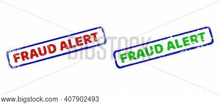 Vector Fraud Alert Framed Imprints With Grunge Surface. Rough Bicolor Rectangle Watermarks. Red, Blu