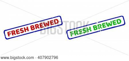 Vector Fresh Brewed Framed Watermarks With Grunge Surface. Rough Bicolor Rectangle Seals. Red, Blue,