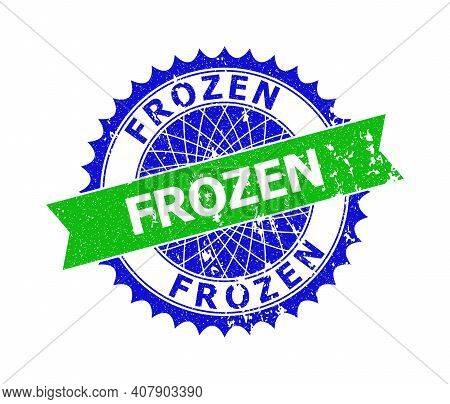 Vector Frozen Bicolor Stamp Seal With Rough Style. Blue And Green Colors. Flat Stamp With Frozen Mes