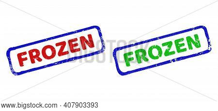 Vector Frozen Framed Imprints With Grunged Style. Rough Bicolor Rectangle Seal Stamps. Red, Blue, Gr