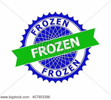 Vector Frozen Bicolor Template For Rubber Imitations With Clean Surface. Flat Clean Seal Stamp With