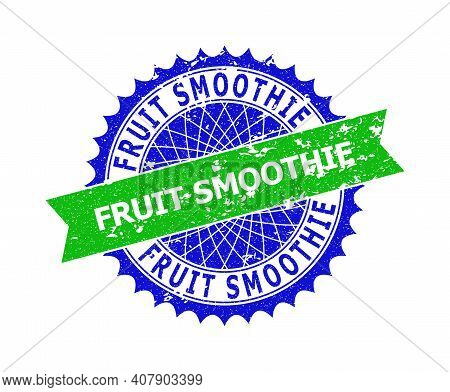 Vector Fruit Smoothie Bicolor Stamp Seal With Grunge Texture. Blue And Green Colors. Flat Stamp With