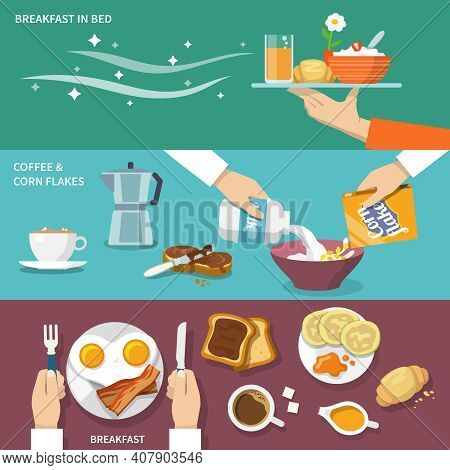 Breakfast Banner Flat Set With Coffee Corn Flakes Bed Isolated Vector Illustration