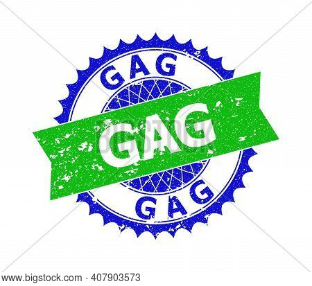 Vector Gag Bicolor Stamp With Rough Style. Blue And Green Colors. Flat Stamp With Gag Phrase Inside