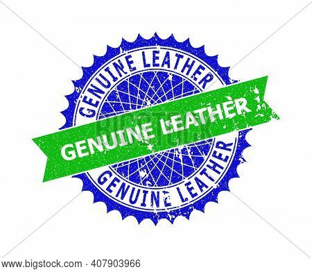 Vector Genuine Leather Bicolor Stamp Seal With Corroded Texture. Blue And Green Colors. Flat Seal St