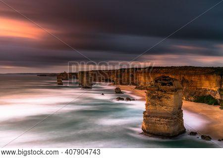 Classic 12 Apostles Sunrise Shot During Sunrise Australia