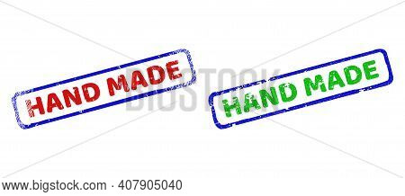 Vector Hand Made Framed Watermarks With Scratched Texture. Rough Bicolor Rectangle Watermarks. Red,