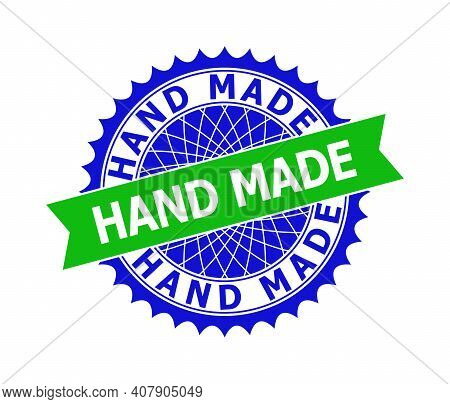 Vector Hand Made Bicolor Template For Imprints With Clean Surface. Flat Clean Seal Template With Han