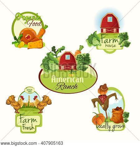 Farm Organic Food House American Ranch Fresh Locally Grown Labels Colored Set Isolated Vector Illust