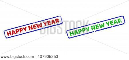 Vector Happy New Year Framed Watermarks With Grunge Texture. Rough Bicolor Rectangle Seals. Red, Blu