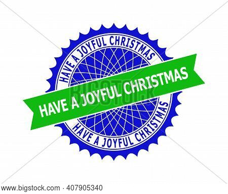 Vector Have A Joyful Christmas Bicolor Template For Watermarks With Clean Surface. Flat Clean Seal W