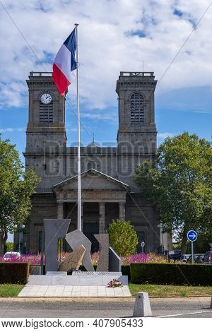 Saint-brieuc, France - August 24, 2019: Place Saint-michel With The Church Of Saint-michel And The M
