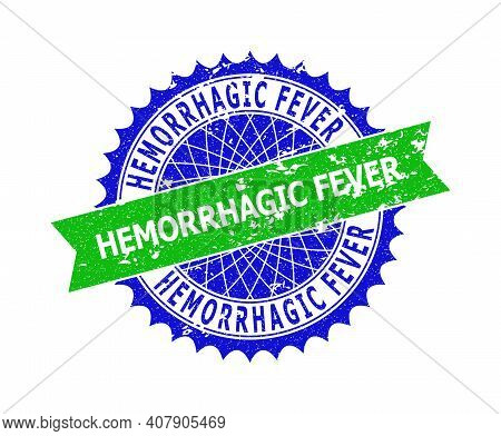 Vector Hemorrhagic Fever Bicolor Stamp Seal With Corroded Texture. Blue And Green Colors. Flat Seal