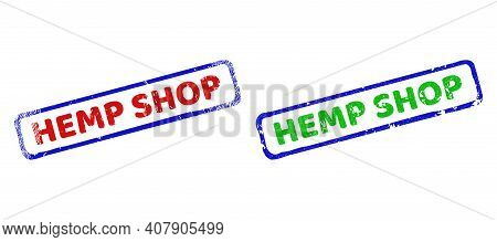 Vector Hemp Shop Framed Watermarks With Scratched Surface. Rough Bicolor Rectangle Watermarks. Red,
