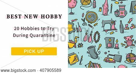Craft Hobby Web Banner. Handmade And Homemade Concept For Designs. Consist Of Illustration Knitting,
