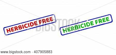 Vector Herbicide Free Framed Imprints With Unclean Surface. Rough Bicolor Rectangle Seal Stamps. Red