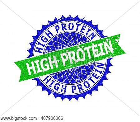 Vector High Protein Bicolor Stamp Seal With Rubber Style. Blue And Green Colors. Flat Seal With High