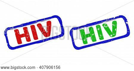 Vector Hiv Framed Rubber Imitations With Grunged Surface. Rough Bicolor Rectangle Seal Stamps. Red,