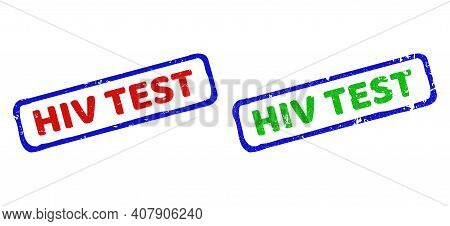 Vector Hiv Test Framed Rubber Imitations With Distress Texture. Rough Bicolor Rectangle Stamps. Red,