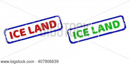 Vector Ice Land Framed Watermarks With Unclean Surface. Rough Bicolor Rectangle Seal Stamps. Red, Bl