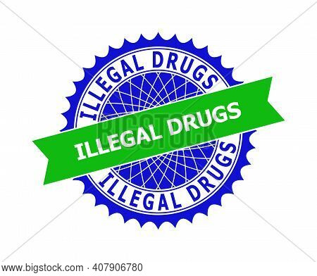 Vector Illegal Drugs Bicolor Template For Imprints With Clean Surface. Flat Clean Stamp With Illegal