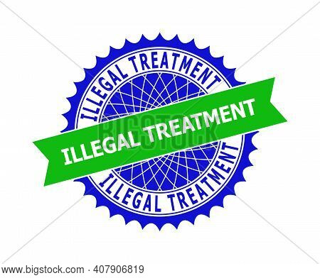 Vector Illegal Treatment Bicolor Template For Watermarks With Clean Surface. Flat Clean Seal Stamp W