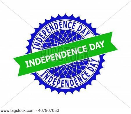Vector Independence Day Bicolor Template For Rubber Imitations With Clean Surface. Flat Clean Seal T