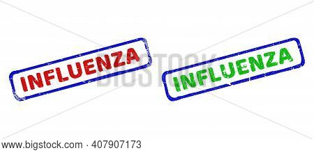 Vector Influenza Framed Imprints With Grunged Texture. Rough Bicolor Rectangle Seal Stamps. Red, Blu