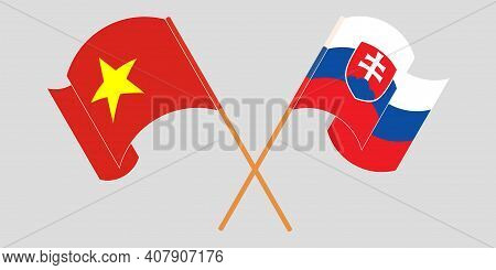 Crossed And Waving Flags Of Slovakia And Vietnam. Vector Illustration