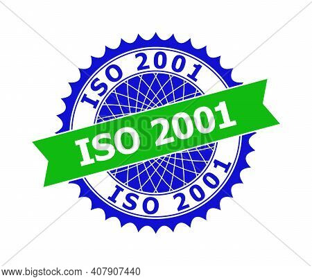 Vector Iso 2001 Bicolor Template For Imprints With Clean Surface. Flat Clean Seal Template With Iso