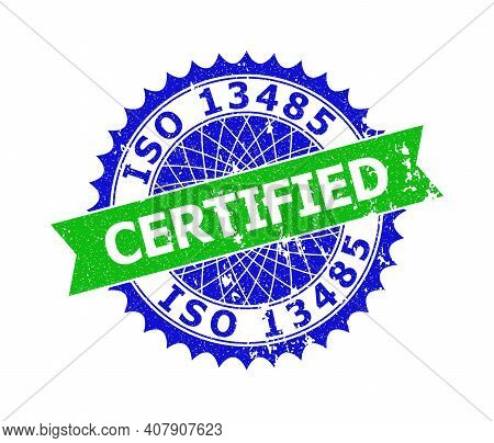 Vector Iso 13485 Certified Bicolor Stamp With Grunge Texture. Blue And Green Colors. Flat Seal Stamp