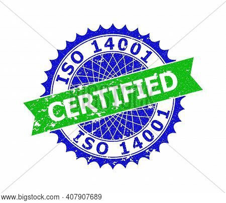 Vector Iso 14001 Certified Bicolor Stamp With Rubber Surface. Blue And Green Colors. Flat Seal Stamp