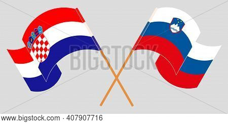 Crossed And Waving Flags Of Slovenia And Croatia. Vector Illustration