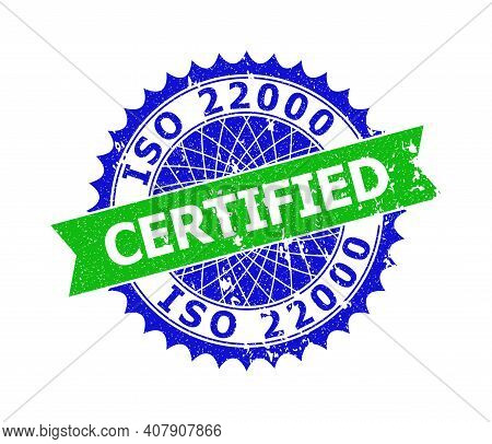 Vector Iso 22000 Certified Bicolor Stamp Seal With Unclean Style. Blue And Green Colors. Flat Seal W