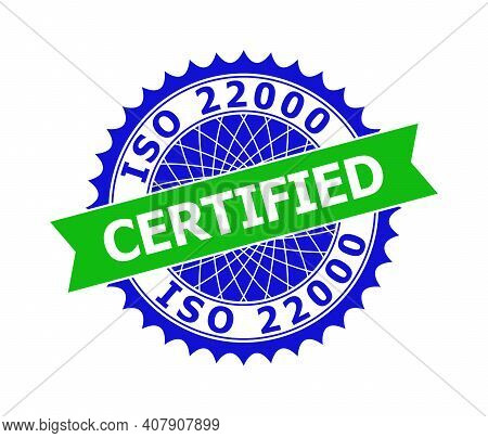 Vector Iso 22000 Certified Bicolor Template For Imprints With Clean Surface. Flat Clean Watermark Wi