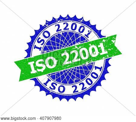 Vector Iso 22001 Bicolor Stamp Seal With Grunge Surface. Blue And Green Colors. Flat Seal Stamp With