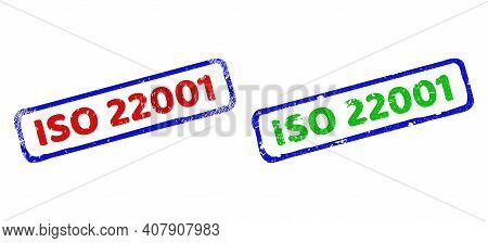 Vector Iso 22001 Framed Imprints With Corroded Surface. Rough Bicolor Rectangle Seal Stamps. Red, Bl