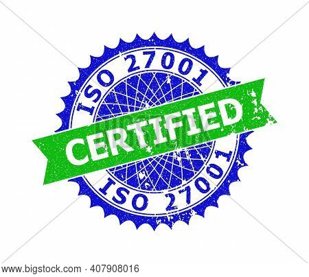 Vector Iso 27001 Certified Bicolor Stamp With Distress Style. Blue And Green Colors. Flat Seal Stamp