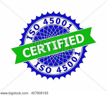 Vector Iso 45001 Certified Bicolor Template For Imprints With Clean Surface. Flat Clean Seal Templat