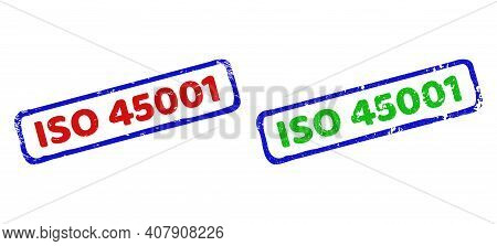 Vector Iso 45001 Framed Imprints With Distress Style. Rough Bicolor Rectangle Seal Stamps. Red, Blue