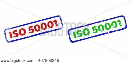 Vector Iso 50001 Framed Watermarks With Distress Texture. Rough Bicolor Rectangle Seal Stamps. Red,