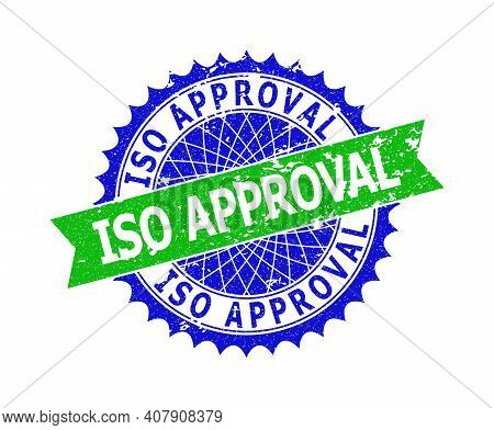Vector Iso Approval Bicolor Seal With Corroded Surface. Blue And Green Colors. Flat Seal Stamp With