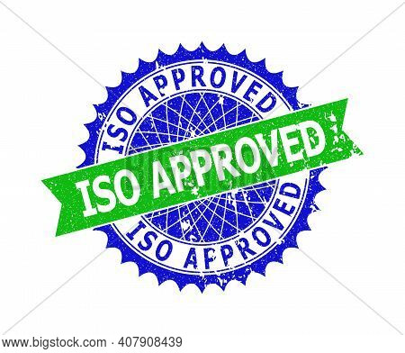 Vector Iso Approved Bicolor Stamp With Grunged Style. Blue And Green Colors. Flat Seal Stamp With Is