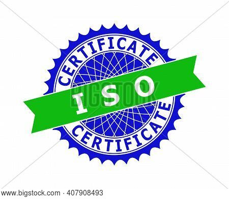 Vector Iso Certificate Bicolor Template For Watermarks With Clean Surface. Flat Clean Stamp With Iso