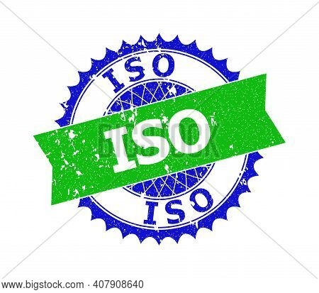 Vector Iso Bicolor Stamp Seal With Scratched Style. Blue And Green Colors. Flat Seal Stamp With Iso