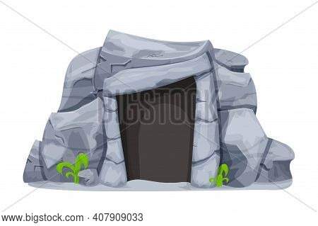 Stone Age Cave From Rocks In Cartoon Style Isolated On White Background. Prehistoric, Ancient Object