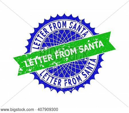 Vector Letter From Santa Bicolor Stamp Seal With Rough Texture. Blue And Green Colors. Flat Seal Wit